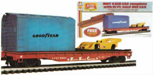 AHM 51' Flat Car with Half Box Car and Race Car